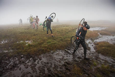 Riders approach the summit of Pen-y-ghent